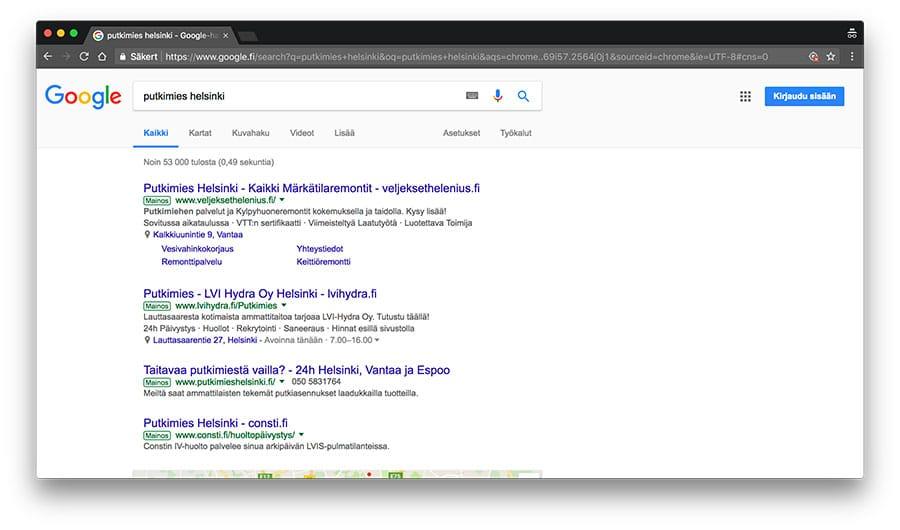 Google hakutulokset putkimies