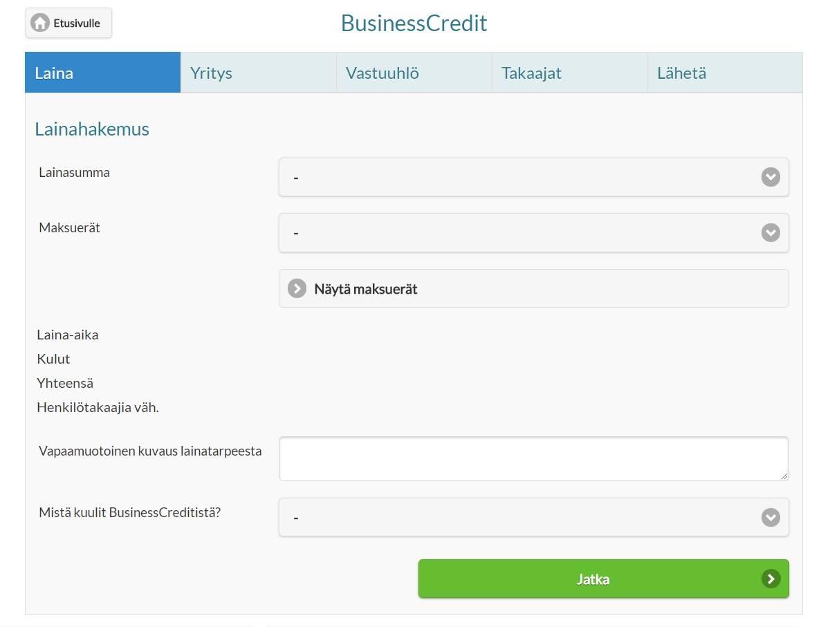 Näin BusinessCredit yrityslainaa haetaan verkossa.