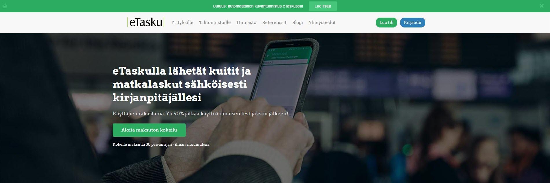 eTasku – mobiiliapplikaatio kuiteille