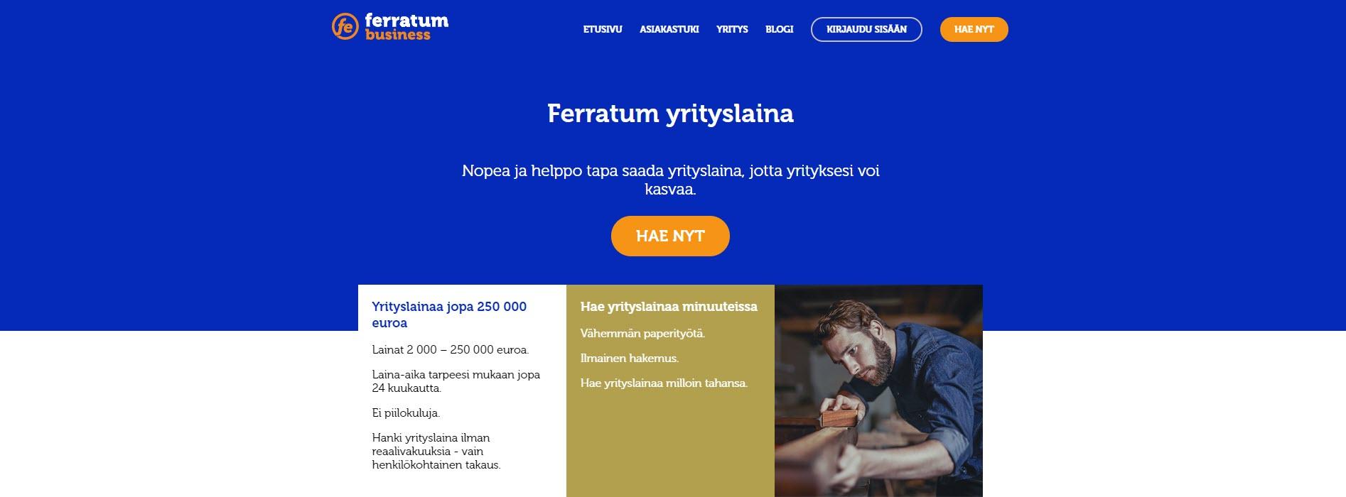 Tarkastelussa Ferratum Business -yrityslaina