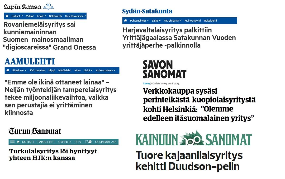 Paikallis- ja maakuntalehtien otsikoita.