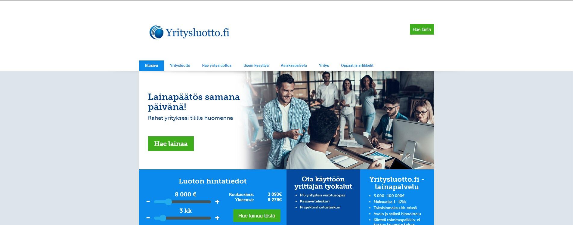 Esittelyssä Yritysluotto.fi:n kiinteähintainen yrityslaina